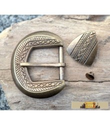 BELT BUCKLE and STRAP END, brass colour
