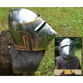 PIG FACE HELMET,chain mail and brass