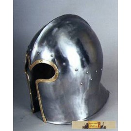 BARBUTE HELMET WITH BRASS - POLISHED