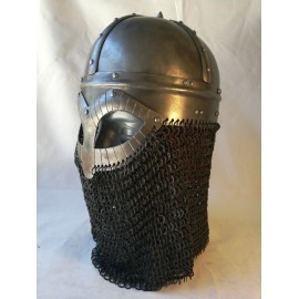 Gjermundbu Helmet with riveted chainmale - combat replica,