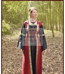 Medieval Dress Eleanor with hood, red/black