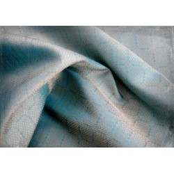 Hand woven silk fabric from Birka (grave no 944), blue and gold