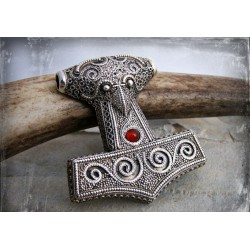 Large silver Viking Thors Hammer replica with natural gemstones in three colours
