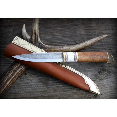 Viking damascus knife with burl and horn handle and sheath