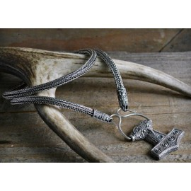 Double weave silver Viking necklace with raven terminals