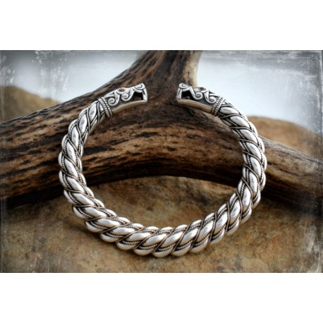 Extremely thick silver Viking bracelet with large dragon head terminals- replica