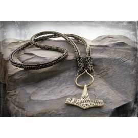 Bronze Viking knit necklace with filigree raven head terminals