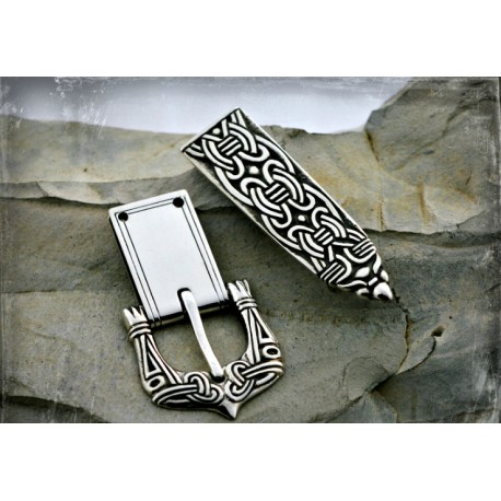 Silver Viking belt buckle and strap end in Borre style, Birka - set in silver (set 1)
