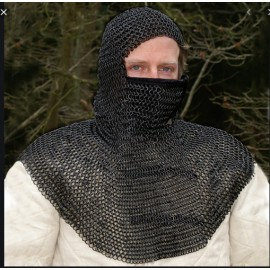 Chain mail coif with triangular mouth guard, ID 8mm, blacke