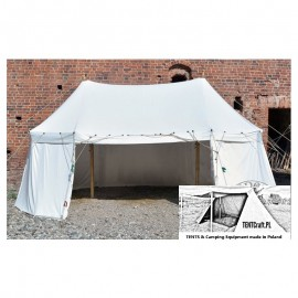 Umbrella tent with two poles (7 x 4 m) - cotton