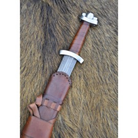 Early Viking Sword Godfred w/ Damascus steel blade, 100 layers