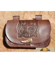 HAND CARVED POUCH - antler button