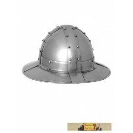 Banded kettle hat, 14 ct, 1,6mm steel with leather liner