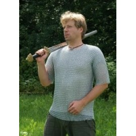 Short-sleeved chainmail shirt, butted, zinc plated, size M